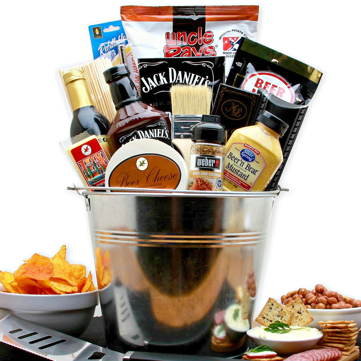BBQ Lovers Grilling Gift Basket and Bar