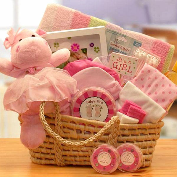 Precious little baby girl gift basket bear necessities new baby gift baskets loading zoom negle Choice Image