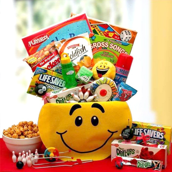 Kids smiley face activity gift box negle Images