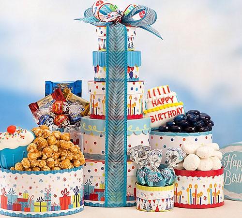 Happy Birthday Gift Tower By Gourmetgiftbaskets Com: Make-A-Wish Birthday Gift Tower