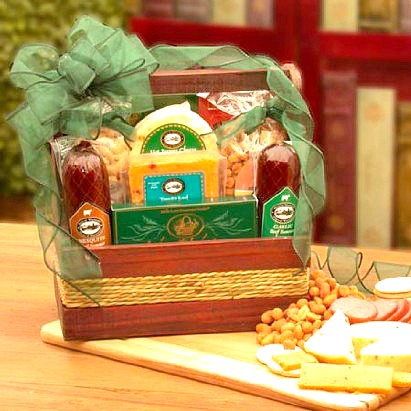 Meats, Cheeses and Nuts Galore Gift Basket. Loading zoom