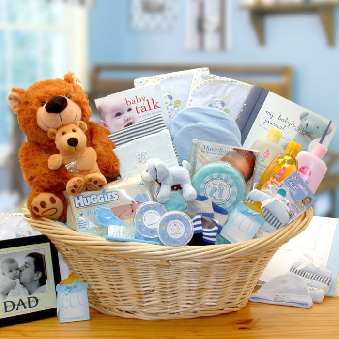 Large Deluxe Gift Basket for Baby Boy. Loading zoom