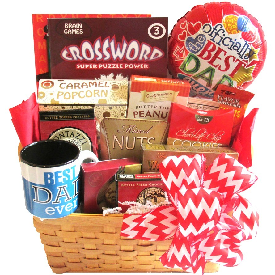 Gift baskets for men gift ideas for men fathers day snacks with puzzle books negle Images