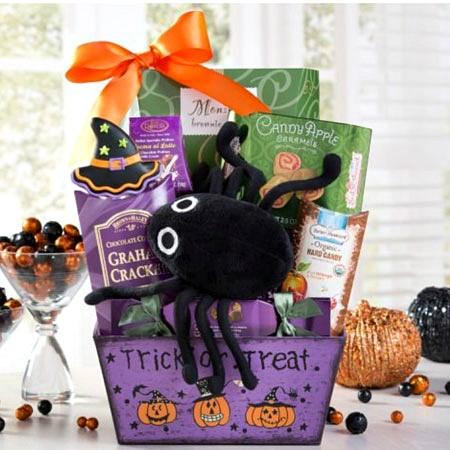 Spooktacular Halloween Fun Gift Basket. No Tricks Just Treats! & Spooky Spider Halloween Gift Basket