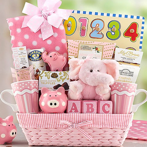 Baby gift baskets for girl : New baby girl basket