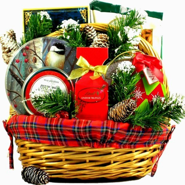 a festive over sized old fashioned christmas gift basket