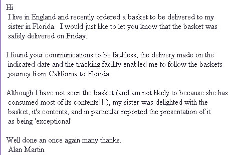 gift basket customer reviews