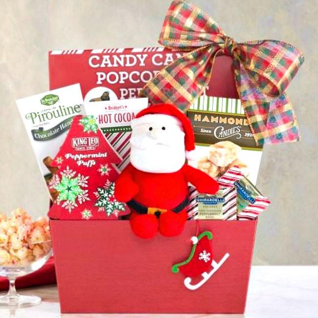 Here comes santa clause christmas gift basket