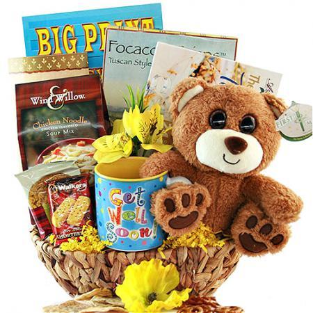 get well teddy bear gourmet gift