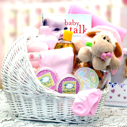 New Baby Girl Bassinet Gift Basket
