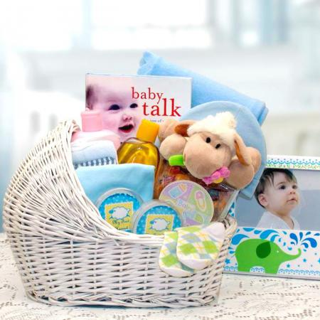 New Baby Boy Bassinet Gift Basket
