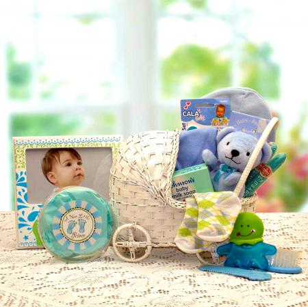 baby boy carriage gift basket