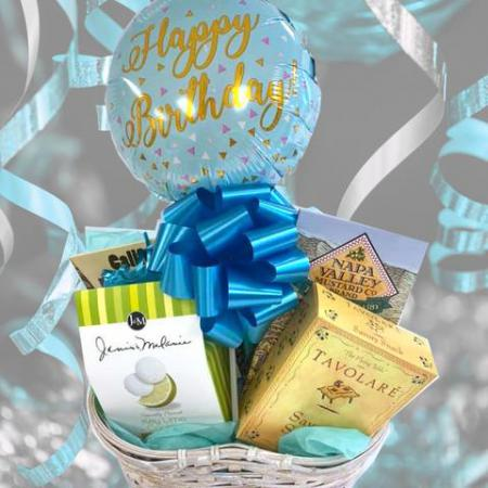Birthday Gift Basket for Women, for Men with Snacks and Happy Birthday Balloon