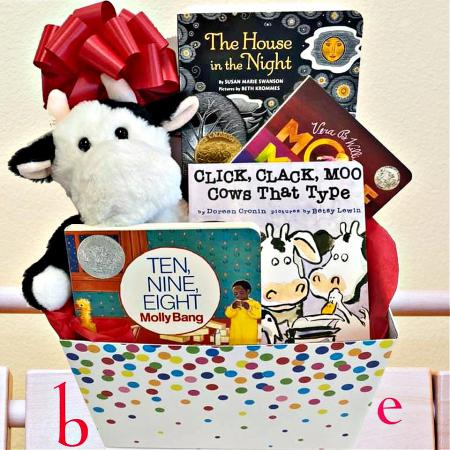 baby gift basket with books and gifts