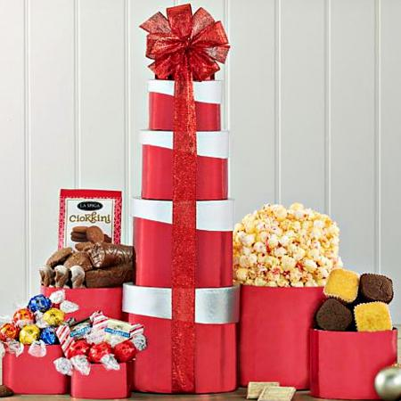 sweet tower of chocolate treats