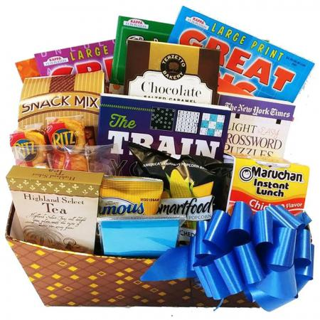 The Entertainer Gift Basket with Books, Puzzle Books, Soup and Snacks