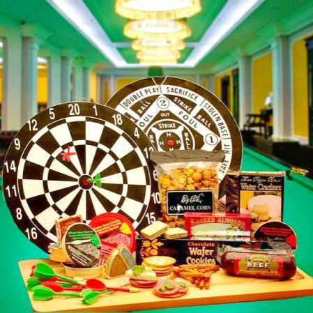 Deluxe Bullseye Dartboard and Gourmet Gifts