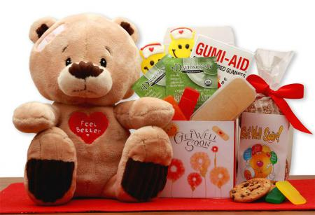get well soon teddy bear  gift basket