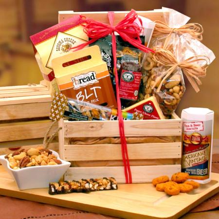 Nuts, Meat and Cheese Gift Crate