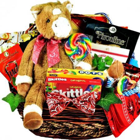 child horse theme gift basket