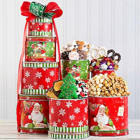 Large Holiday Gift Tin Tower