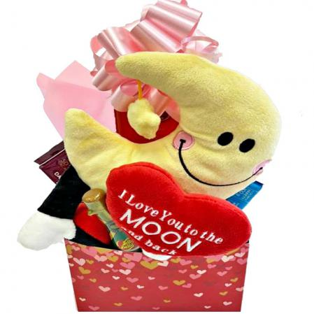 love you to the moon gift basket