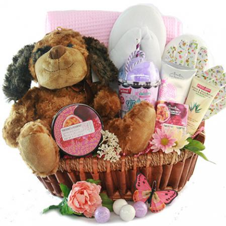 puppy love gift basket send by mail