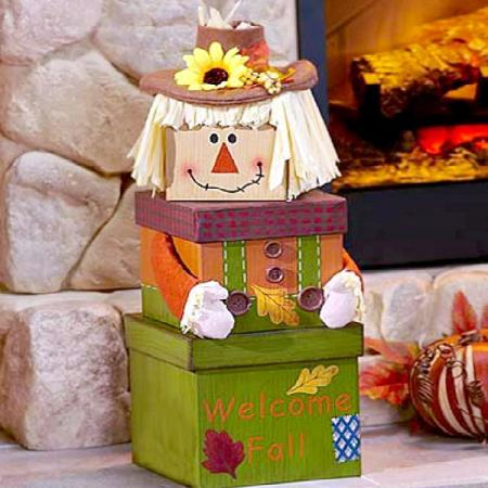 Fall Gift Tower, Adorable Scare Crow Theme