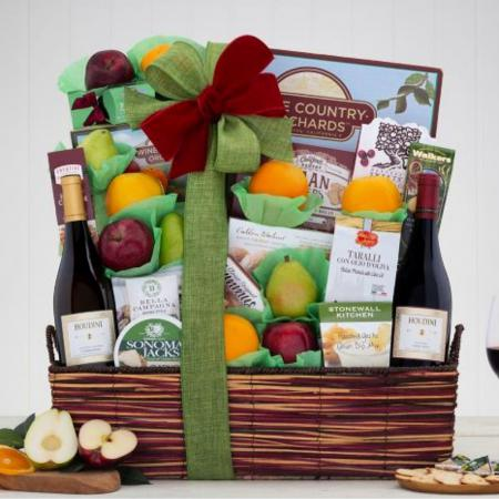 wine gift basket and fruit