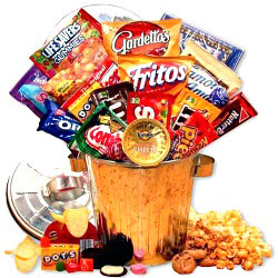 Gift container filled with snacks to send by mail