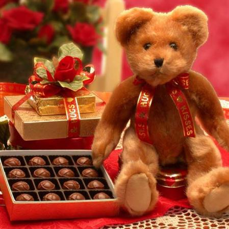 Teddy Bear and Chocolates Gift Basket