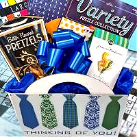 Thinking of You Men's Gift Basket with Puzzle Books and Snacks for Any Occasion