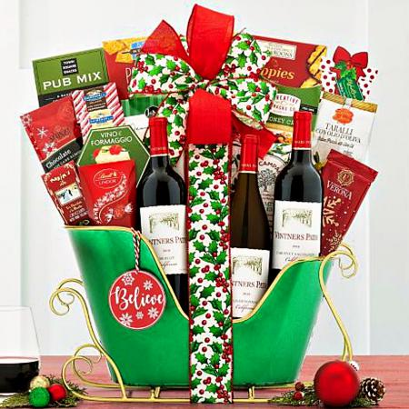 wine gift basket for the holidays