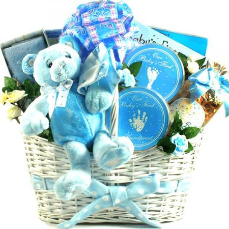 Baby's First Teddy Bear, New Baby Gift Basket (Pink or Blue)