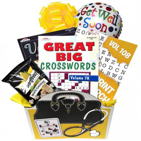Unisex Get Well Gift Box, Crossword Books and Snacks