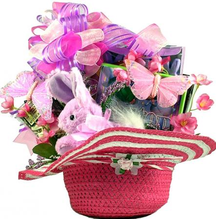Little Girls Fun Easter Hat Basket