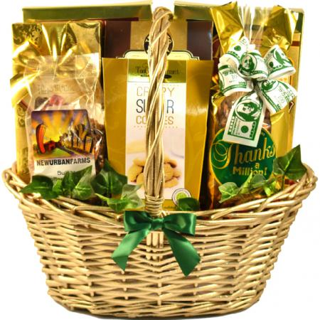 golden thank you gift basket