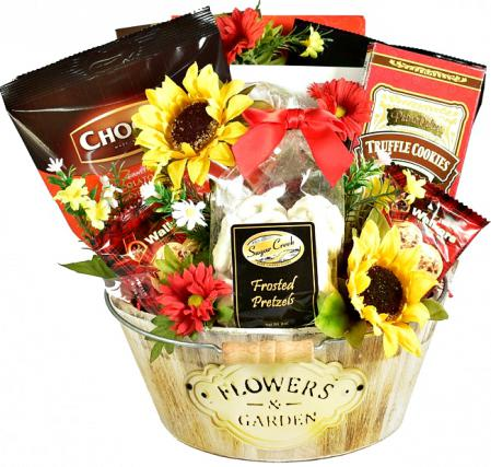Rustic Charm Wooden Planter Gift Basket With Tasty Delights