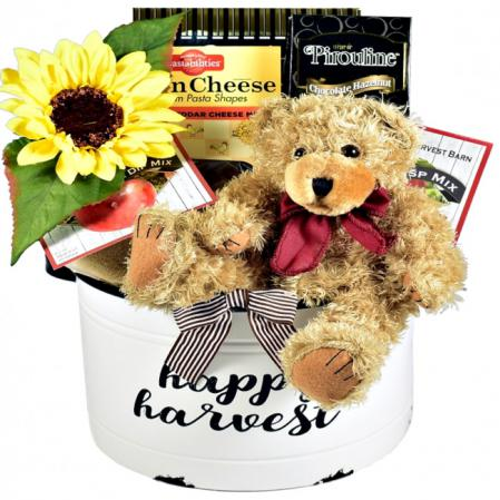 happy harvest fall gift basket arrangement