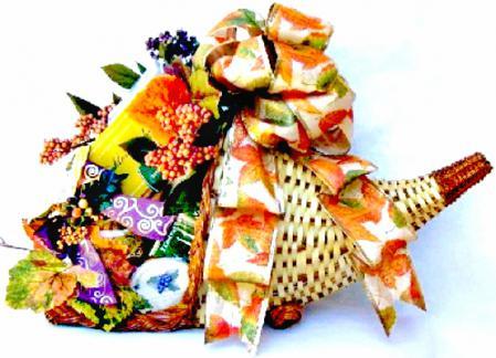horn-of-plenty thanksgiving gift basket