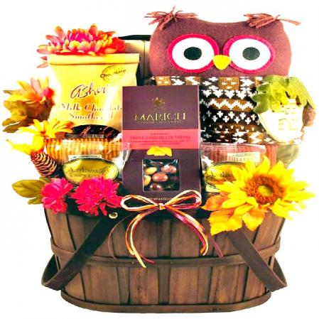 One-of-a-Kind Fall Hoot Owl Gift Basket