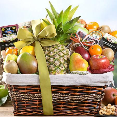 Tropical Fruit, Nut and Cheese Basket
