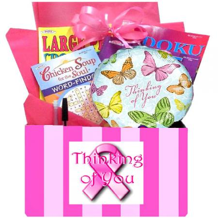 Pink-Ribbon Breast Cancer Gift Basket