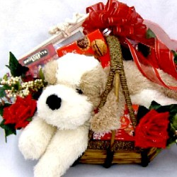 Romantic Puppy Love Gift Basket