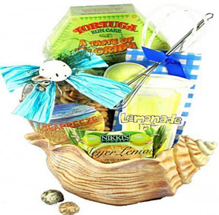 sea shells beach goers gift basket