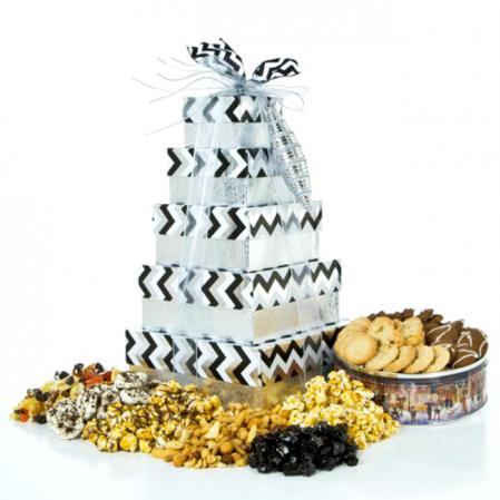 Beautiful Silver Gift Tower of Treats