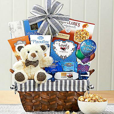 thinking of you gift basket with bear hug