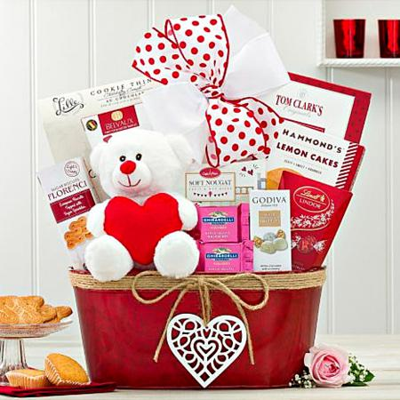 valentines day gift basket with teddy bear