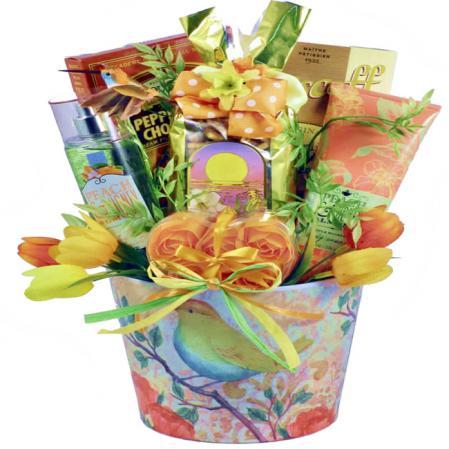 peach themed gift basket