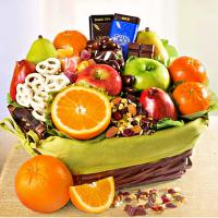organic gift basket of fruit and sweets